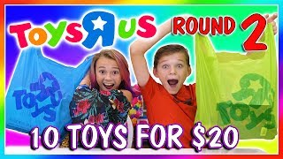 """Kayla and Tyler find 10 items for 20 dollars or less at Toys R Us. Who has the best finds? Subscribe https://www.youtube.com/c/wearethedavises?sub_confirmation=1Our mailing address:We Are The Davises28241 Crown Valley Pkwy Suite F #613Laguna Niguel, CA 92677""""We Are The Davises"""" is an entertaining family vlog channel based in Florida. Our daily videos show our real life moments, challenges, funny skits, and traveling adventures. Shawn is an outstanding father and husband that enjoys coaching children in team sports like football and wrestling. Connie is very creative with our channel as she makes everything in our lives as fun and entertaining as possible while still molding our kids into the amazing people they are today. Kayla is currently 12 years old. Her passion is competitive cheer leading and loves all animals from fluffy puppies to the little frogs. Tyler is 11 years old and is obsessed with playing video games and team sports such as football. We are excited to share our fun filled journey!Check out our gaming channel We Are The Davises Gaming if you love gaming videos.https://www.youtube.com/channel/UCShsPtvK0WzxjljpN4rhVzgPlease be sure to check out all of our social media platforms that we have listed below for you.Twitter:  https://twitter.com/wearethedavisesFacebook:  https://www.facebook.com/wearethedavises/Instagram: https://www.instagram.com/wearethedavises/Google+: https://plus.google.com/u/0/+WeAreTheDavises2016/postsSnapchat:  https://www.snapchat.com/add/wearethedavisesMusical.ly:  wearethedavisesDo you like certain types of videos? Come and check out the playlists that we have setup to make it easier for you to watch what you like.Here is a playlist of all our daily videos. https://www.youtube.com/playlist?list=PL1SgveIsSpIqtjNq-QnGHSHxv410nkJfyThis playlist was put together specifically for all you Kayla fans.https://www.youtube.com/playlist?list=PL1SgveIsSpIq9mItnfiQyqIO7g1-v28PMThis is a fun playlist full of DIY and Q&A videos. https://www.yo"""