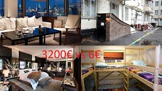 Subscribe to the channel http://www.youtube.com/channel/UCEkW8bQp2N-eHs5q8rsSxvg?sub_Confirmation=1&sub_confirmation=16€ vs 3200€. The cheapest and the most expensive hotel in Moscow, RussiaArarat Park Hyatt, Moscow, Russia - https://www.booking.com/hotel/ru/ararat-park-hyatt.html?aid=911025Neglinnaya Street 4, Meshchansky, 109012 Moscow, RussiaArarat Park Hyatt has an excellent location 5 minutes from Red Square in the prime shopping area, moments from both TSUM and Detsky Mir department stores. It features superb service.MG Hostel, Moscow, Russia - https://www.booking.com/hotel/ru/mg-hostel.html?aid=911025Shmitovsky proesd 12, first floor, Presnensky, 123100 Moscow, RussiaMG Hostel is located in Moscow, just 2.7 km from Arbat Street.All rooms have a flat-screen TV with satellite channels. You will find a kettle in the room. All rooms include a shared bathroom.There is a shared kitchen at the property.Pushkin Museum of Fine Arts is 3.5 km from MG Hostel, and Cathedral of Christ the Saviour is 3.7 km away. Sheremetyevo International Airport is 24.1 km from the property.