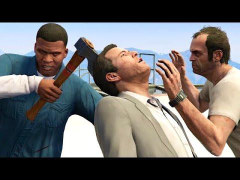 GTA V PC Franklin Kills Trevor And Michael (Editor Rockstar Movie Cinematic Short Film)