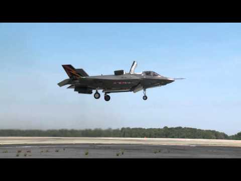 First Footage of an F35B Taking Off Straight Into the
