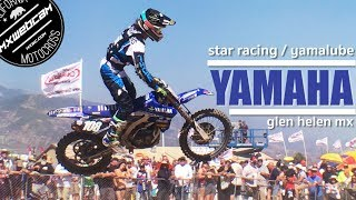 Team Star Racing / Yamalube Yamaha in action at the Glen Helen MX National in Southern California. Riders featured in this video include Aaron Plessinger, Colt Nichols, Mitchel Harrison and moto winner Dylan Ferrandis.Subscribe youtube.com/mxwebcamVisit the site mxwebcam.comMusic Credits:Future Gladiator by Kevin MacLeod is licensed under a Creative Commons Attribution license (https://creativecommons.org/licenses/by/4.0/)Source: http://incompetech.com/music/royalty-free/index.html?isrc=USUAN1200051Artist: http://incompetech.com/Video Production:mxwebcamFilm Location:Glen Helen Raceway