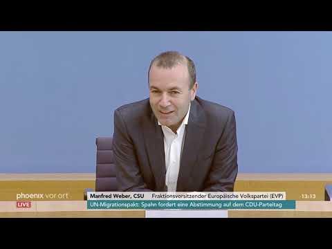 Pressekonferenz von Manfred Weber zum Wahlkampf bei d ...