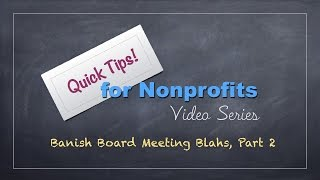 Nonprofit Tips: Tame Board Meeting Madness