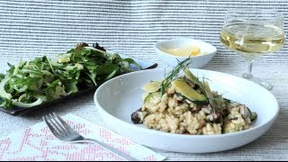Risotto aux champignons, zucchinis et bacon