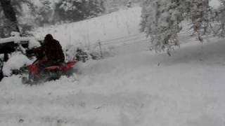 10. Polaris Scrambler 500 4x4 in the snow- Dads Turn