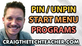 """This video is brought to you by: http://www.craigthetechteacher.com - The """"tile"""" system implemented into the Windows 8 and Windows 10 operating systems allows you to create a more """"graphical"""" method for organizing your applications. This video will show you how to pin newly installed applications (or unpin programs you do not use) on the Windows 10 start menuThe tile system works extremely well for individuals who have touch screen monitors or a tablet environment. The Surface Pro tablet, for example, works as a desktop computer most of the time, but when you switch over to the tablet you can have a better experience with the larger tiles.Tiles can also be re-arranged, resized and categorizes. This allows for even more in depth organization of applications you enjoy using."""