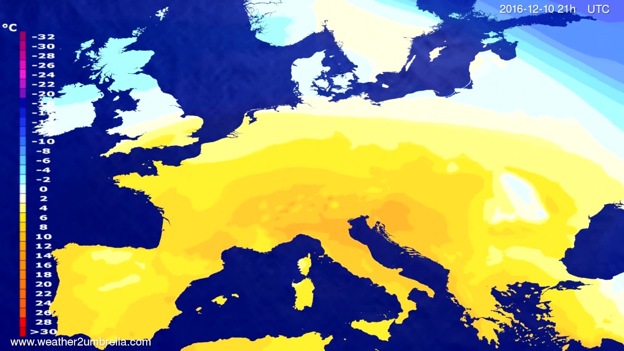 Temperature forecast Europe 2016-12-07