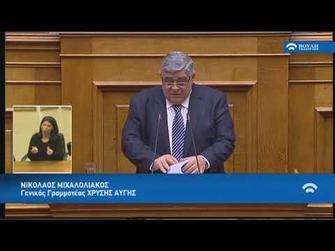 Ν.Μιχαλολιάκος(Γεν.Γρα.Χρυ.Αυγής)(Αναθεώρηση Διατάξεων Συντάγματος) (14/03/2019)