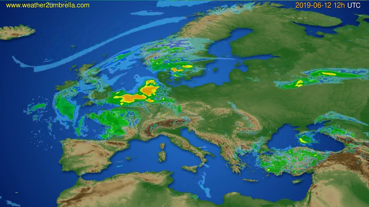 Radar forecast Europe // modelrun: 00h UTC 2019-06-12