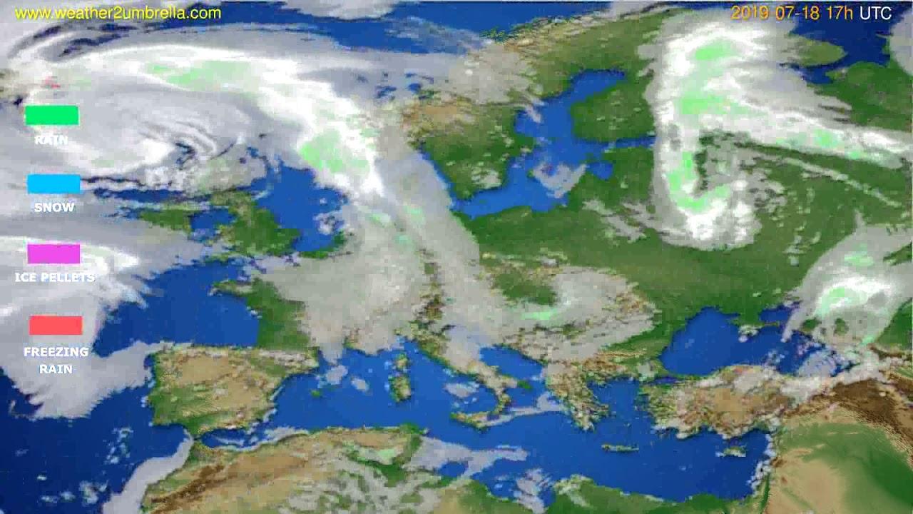 Precipitation forecast Europe // modelrun: 00h UTC 2019-07-17