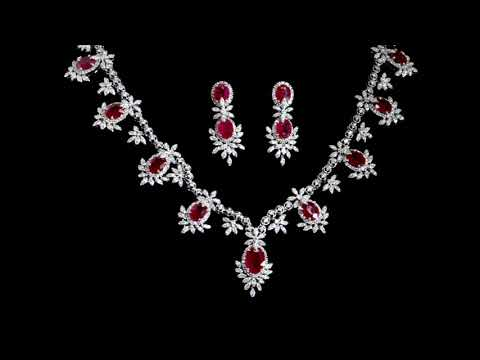 Lady's 18k White Gold 20ct (TW) Ruby and Diamond Necklace and Matching Earrings
