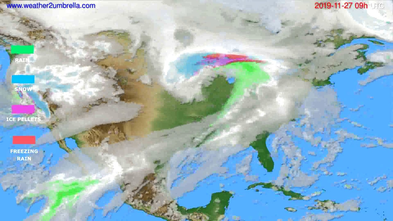 Precipitation forecast USA & Canada // modelrun: 12h UTC 2019-11-25