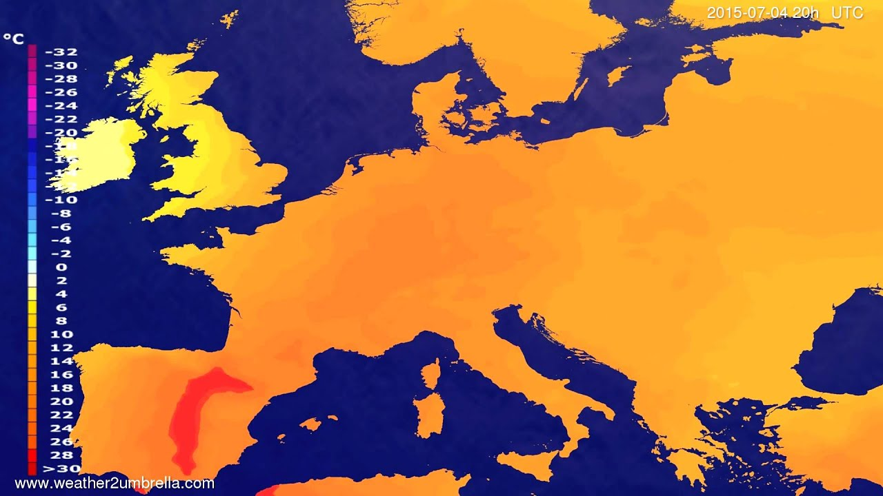 Temperature forecast Europe 2015-07-01