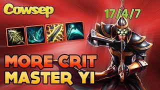 Cowsep played some more crit Master Yi and it actually went pretty well! This is footage from before the guide, so the build order and stuff varies a bit, stick to the guide video rather than this one.💵  $1000 RP GIVE AWAY 💵https://t.co/W8J9Xv1byY👕 ► BUY COWSEP MERCHANDISEhttp://shop.cowsep.com📺 ► Missed an episode of Cowsep Stream Highlights?https://www.youtube.com/playlist?list=PL_eVQGn8cLCywpp3Ie8MnI0yEIGQmI9le📺 ► Watch the live stream on Twitch!http://twitch.tv/cowsep📱 ► Keep connected with Cowsep on social mediaFacebook: http://facebook.com/cowsepTwitter: http://twitter.com/cowsep💻 ► Interact with the website!http://www.cowsep.com🎼 ► Music in order of appearance#1: Johan Borjesson - Washed Out#2: Mondays ft. Lila My - Do It Again#3: Alexander Fogelmark feat. Miss Penny - Take Me Down #4: Niklas Gustavsson - Mountain Downhill 2Some graphic assets for the thumbnail designed by FreepikCowsep Stream Highlights is fun for the whole family and part of every nutritious breakfast. Cowsep Stream Highlights contains at least 27% of your daily recommended salt intake.