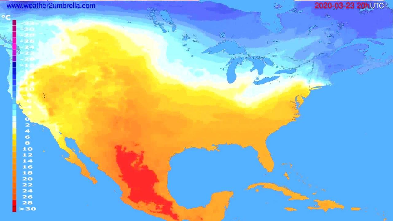 Temperature forecast USA & Canada // modelrun: 12h UTC 2020-03-22