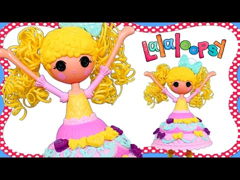 Lalaloopsy Dough Dress! Making Play Doh Cake Fashion on Candle Slice O' Cake Doll by DCTC