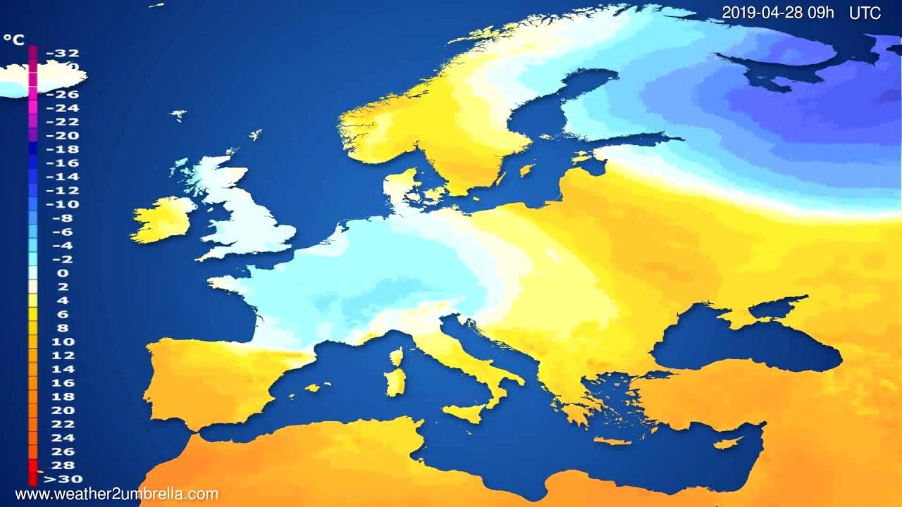 Temperature forecast Europe // modelrun: 12h UTC 2019-04-26