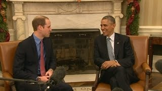 William tells Obama about Prince George's birth 'chaos'