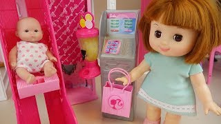 Baby doll and slide house toys playing baby sitter
