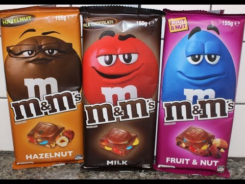 M&M's Chocolates: Hazelnut, Milk and Fruit & Nut Candy Bar Review