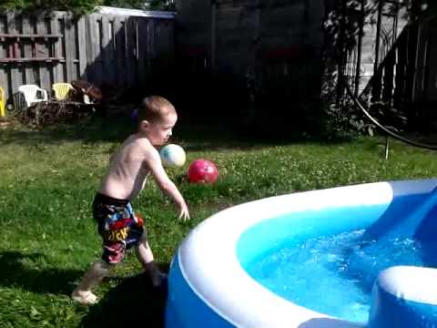 townsend playing in the pool