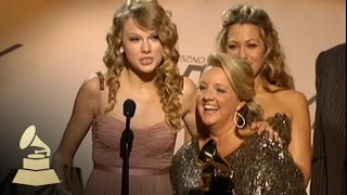 Taylor Swift accepting her first ever GRAMMY Award for White Horse