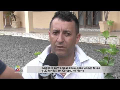 Acidente com ônibus deixa 5 mortos e 20 feridos em Corupá