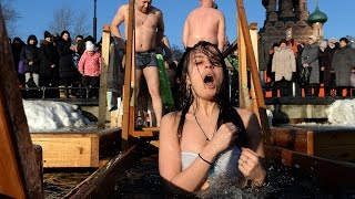 CRAZY RUSSIANS: On -55 C / -67 F (!) Traditional Russian Epiphany Ice Plunge
