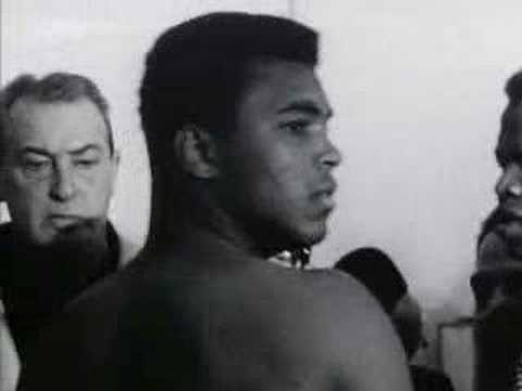 Cassius Clay - Muhammad ali vs Sonny liston weigh-in before their first fight in 1964 - Ali's victory made hime Heavyweight Champion of the World for the first time.