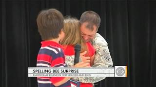 Staff Sgt. Therron Johnson surprised his 9-year-old daughter Skylar during her elementary school spelling bee. They join the