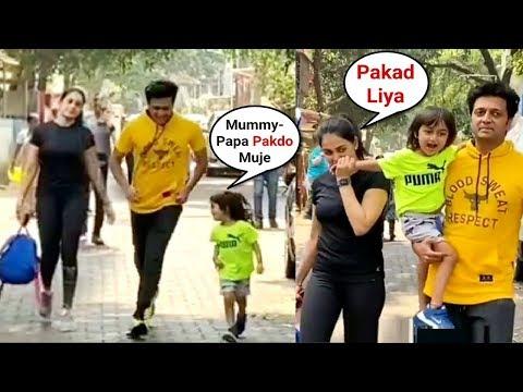 Ritesh Deshmukh And Genelia D'souza Playing With Son Rahyl Outside School