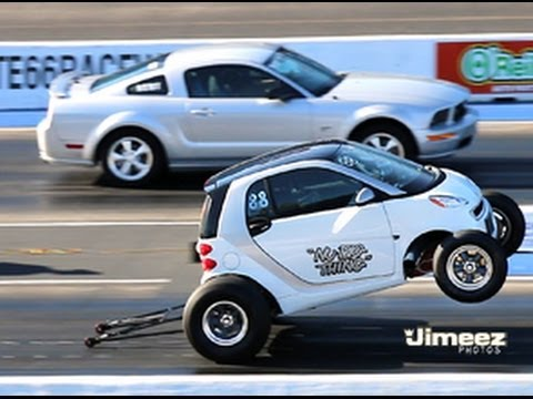 smart car 462ci bbc vs gt mustang at rt66