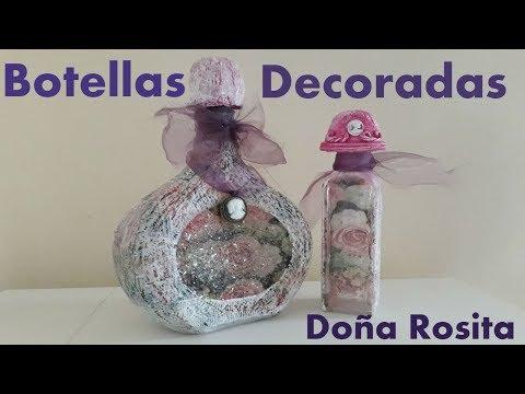 Uñas decoradas - Botellas de vidrio decoradas muy facil de hacer
