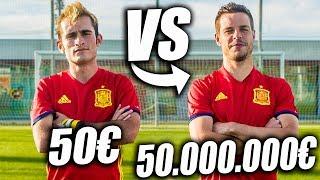 FUTBOLISTA de 50€ VS FUTBOLISTA de 50.000.000€ - Retos de Fútbol