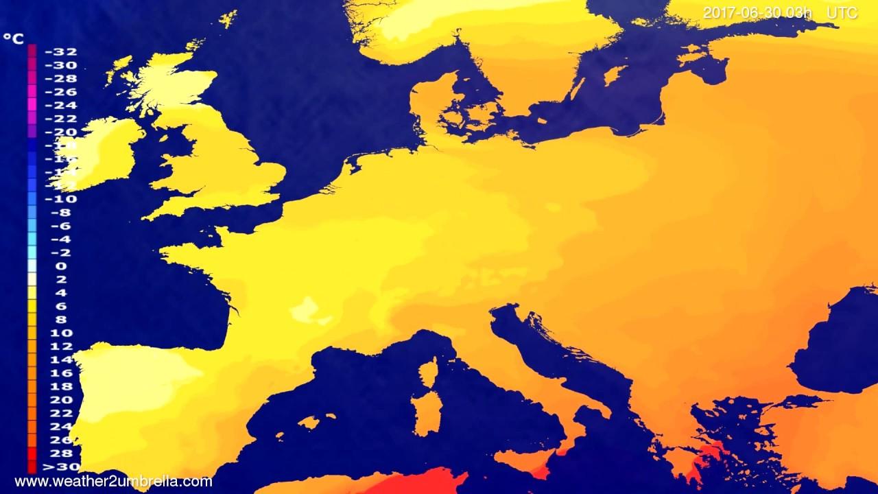 Temperature forecast Europe 2017-06-27