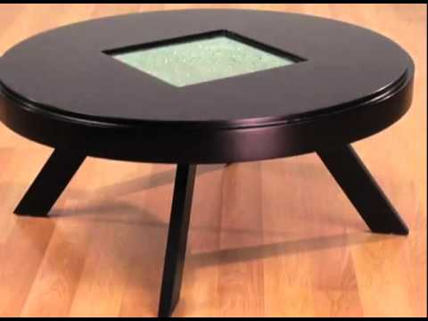 Geode 36-Inch Round Coffee Table with Frosted Center by Armen Living