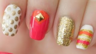 Pink & Orange Kate Spade Inspired Nails - YouTube