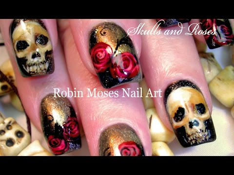 Bone Skulls & Red Roses Nail Art