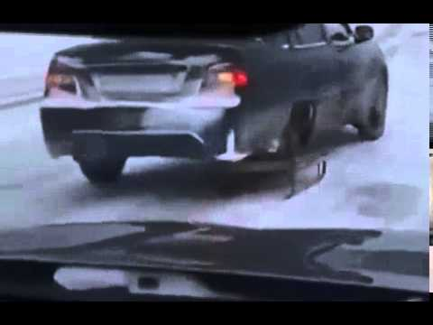 Funny Video: Russian Uses Sled In Place Of Car Tire