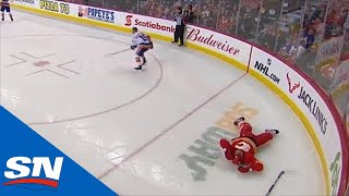 Cal Clutterbuck Drops Rasmus Andersson With Borderline Late Hit Against Boards by Sportsnet Canada