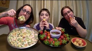 Strawberries And Cream Puffs Dipped In Chocolate, Olivier Salad   Gay Family Mukbang (먹방)