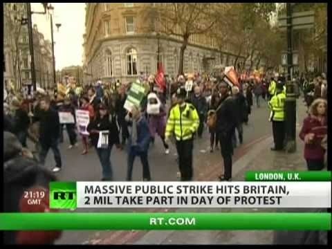 Labor Strike - Over 20 thousand protester hit the streets of London to protest the sector cuts to public programs. Two million public sectors workers went on strike today a...