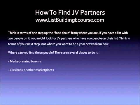 List Building Tips – Finding JV Partners To Build Your List