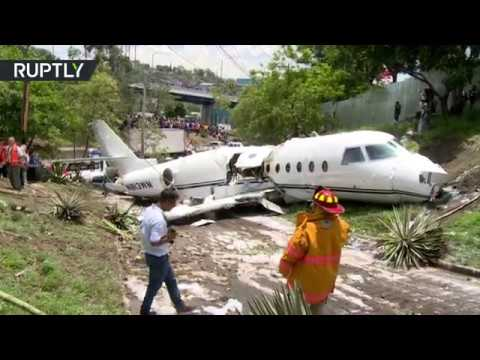 US jet splits in half after crash in Honduras