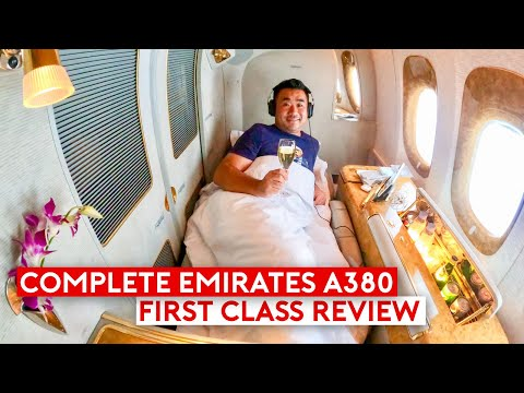 The Complete Emirates A380 First Class Review Feature Be Relax Pillow & Travel Products (видео)