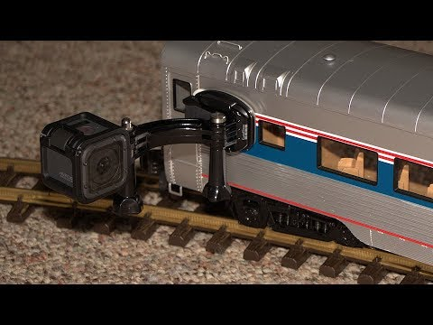 GoPro attached to model passenger train