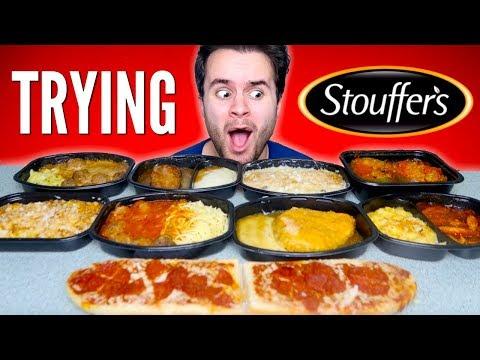 TRYING STOUFFERS FROZEN MEALS! - Pizza Bread, Fried Chicken, & MORE Taste Test!