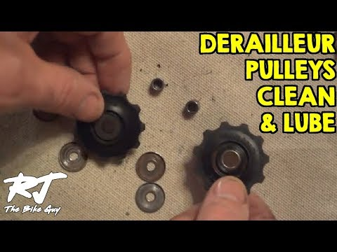 derailleur - The pulleys on the rear derailleur are often overlooked when cleaning and lubricating the drive train of a bike. But the pulleys can get very dirty and clogg...