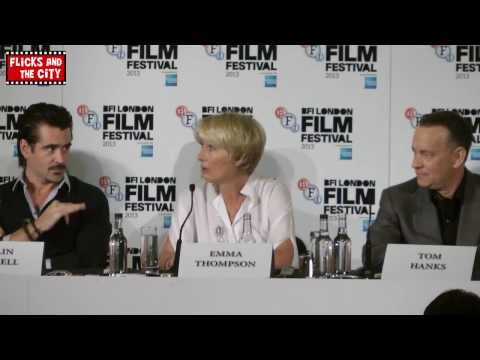emma thompson - Saving Mr Banks press conference interviews with Tom Hanks, Emma Thompson, Colin Farrell, Ruth Wilson, John Lee Hancock, Alison Owen & Kelly Marcel. http://b...