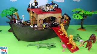 Hi kids, racetoytime! Today, we are going to build the Playmobil Animal Ark Playset. This is a fun building toy set which includes a ship    or ark that floats in the water and some safari animals, like giraffes, lions, zebras, ostrich, chimpanzees. We also added some wild animals from our playmobil collection and some swimming toys, like shark and fish. Watch all the way to end as we put the ark in the children's pool. I hope you guys enjoy this video. Please be sure to subscribe to our channel if you haven't already, and like and share our videos. We have a lot of videos on our channel. Watch them all! We'll make more! Comment below if you like and as always, thanks for watching!Subscribe to racetoytime here - https://www.youtube.com/channel/UCVTQrl1dtafYX08IBb7EhrwWatch our other videos:  Learn Animal Toys Names │ Zoo Animals Elephant Lion Tiger Rhino for Kids - https://www.youtube.com/watch?v=KnsmONvQyeYLearning Sea Animals Toy Sharks Whales Dolphin - https://www.youtube.com/watch?v=9i88w4UqPnADinosaur Surprise Toys Game in the Claw Machine -  Learn Dinosaurs Names For Children - https://www.youtube.com/watch?v=H8AkVqFrxhoJurassic World Mini Dinosaurs Figures Blind Bag Exclusive Indominus Rex  - https://www.youtube.com/watch?v=_bgyS74lUR8Playmobil City Zoo Toy Wild Animals Building Set Build Review - https://www.youtube.com/watch?v=g5dbYcmUHZ8Playmobil City Life Large Zoo Toy Wild Animals Building Set Build Review - https://www.youtube.com/watch?v=IZXfiFPyW8EDinosaurs 3D Puzzles Animals Eggs Surprise Toys - Spinosaurus Ankylosaurus Pteranodon - https://www.youtube.com/watch?v=VJuukvLmpSgDinosaur Transforming Eggs Toys - Tyrannosaurus Rex Pterodactyl Velociraptor Triceratops - https://youtu.be/HT_CFeMP9GkToy Wild Animals 3D Puzzles Collection - Lion Panda Elephant Zebra Tortoise │ Animals for children - https://youtu.be/yabb98z1WC8Playmobil Toy Wild Zoo Animals Collection For Kids - Tiger Panda Koala Gorilla - https://youtu.be/L06I3WiWjNsPLAYMOBIL Country Farm An